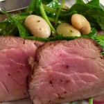 Pork Tenderloin with Butter Beans and Spinach Salad